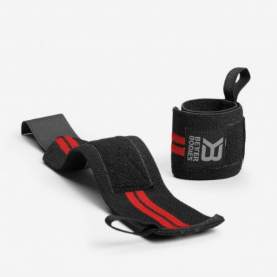 BB Elastic Wrist Wraps - Black/Red