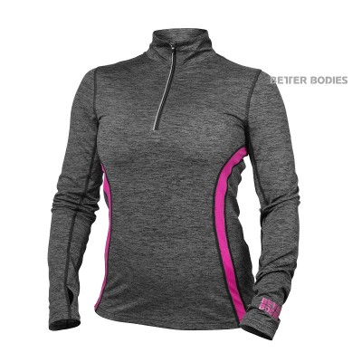 BB Performance Mid Long sleeve - Graphite/Pink, (Vain S-koko)
