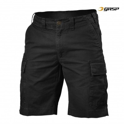 GASP Rough Cargo Shorts - Wash Black, (Vain S-, M- ja XL-koko)