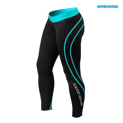 BB Athlete Tights - Black/Aqua, (Vain M-koko)